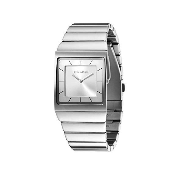 Eckige Unisex-Armbanduhr in Edelstahl von Police Skyline PL21669MS04M