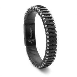 Steelwear Armband Leder/Edelstahl Schwarz