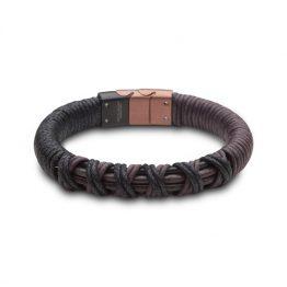 Steelwear Herren Armband Leder Braun und Schwarz geflochten