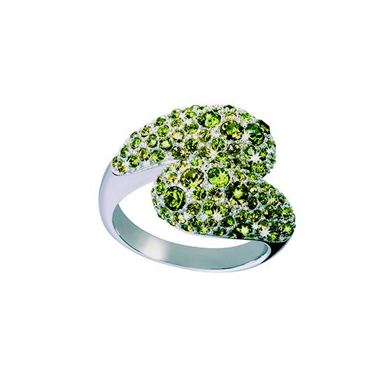 Ring Glamourworld mit hellgrünen Swarovski Kristallen