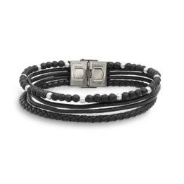 Xenox Armband Herren aus Leder und schwarzem Achat X4521