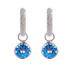 Marmara Creolen mit Swarovski Kristallen und Saphir schimmernden Charms