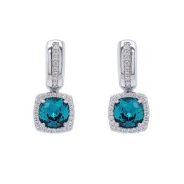 Marmara Creolen mit Indigolith und Swarovski Kristallen