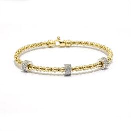 Armband gelbvergoldet mit 3 fixen Rundelementen mit Zirkoniasteinen
