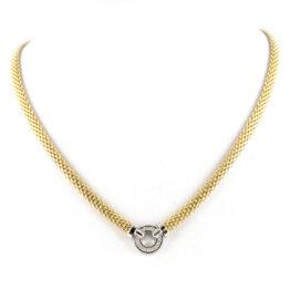 Collier gelbvergoldet mit 1 fixen Rundelement mit Zirkoniasteinen