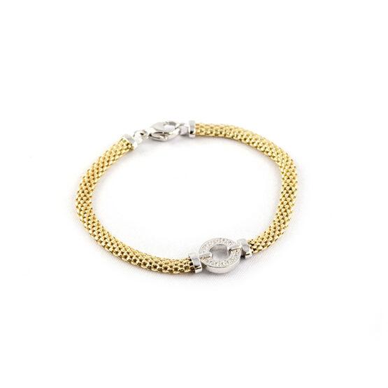 Armband gelbvergoldet mit 1 fixen Rundelement mit Zirkoniasteinen