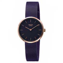 Boccia Titan Damen Armbanduhr Lila mit Milanesarmband