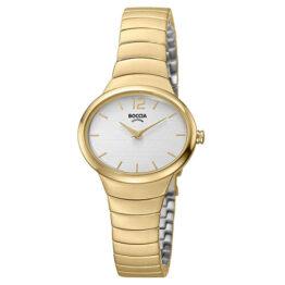 Boccia Titan Damen Armbanduhr Gelb vergoldet, ovales Zifferblatt