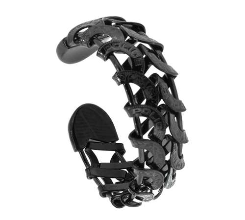 Police Edelstahl Armband in Schwarz Spange mit Police Gravur PJ20705BSB/02